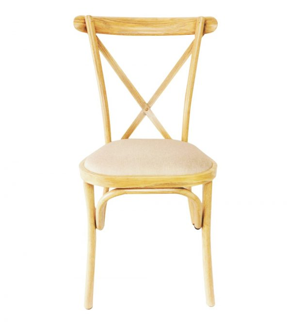 Metal Cross Back Chair -Wooden Colour