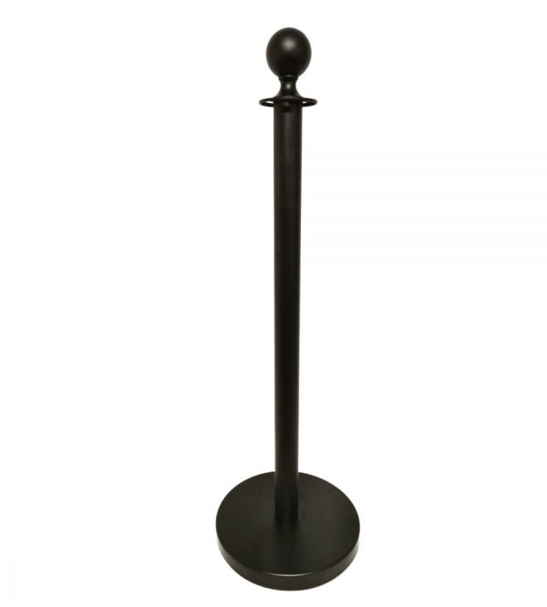 Round Top Stanchion Flat Base-Black