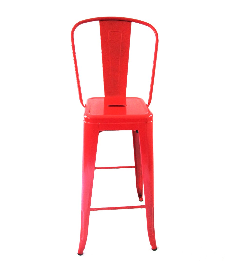 Tolix Bar Chair With High Back Red