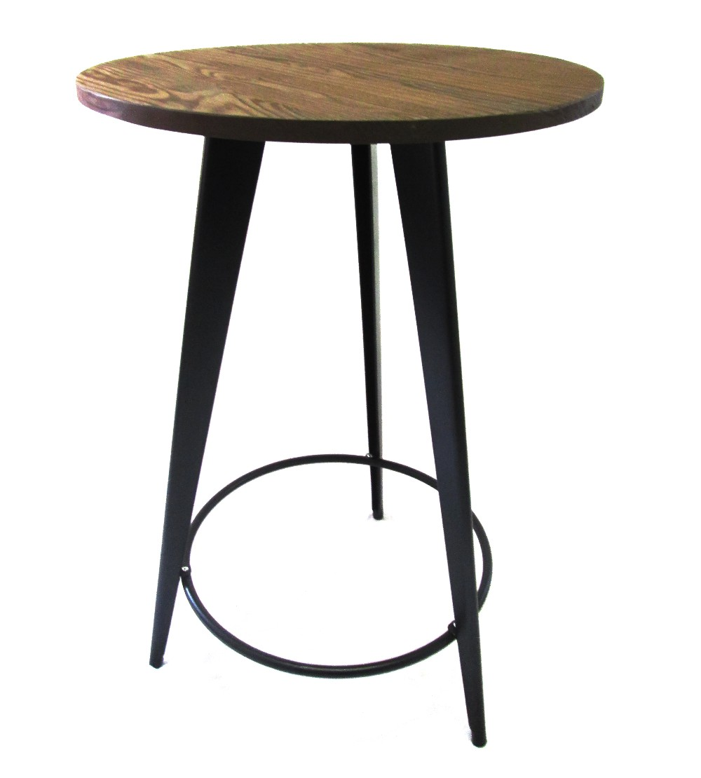 Tolix Bar Table Round 70cm Wooden Top Black