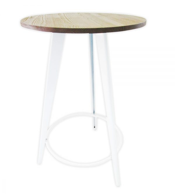 Tolix Bar Table Round 70cm Wooden Top White
