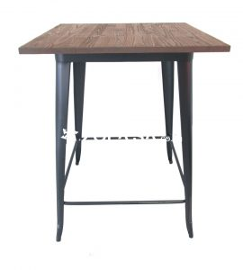 Tolix Bar Table Square 80cm Wooden Top Black