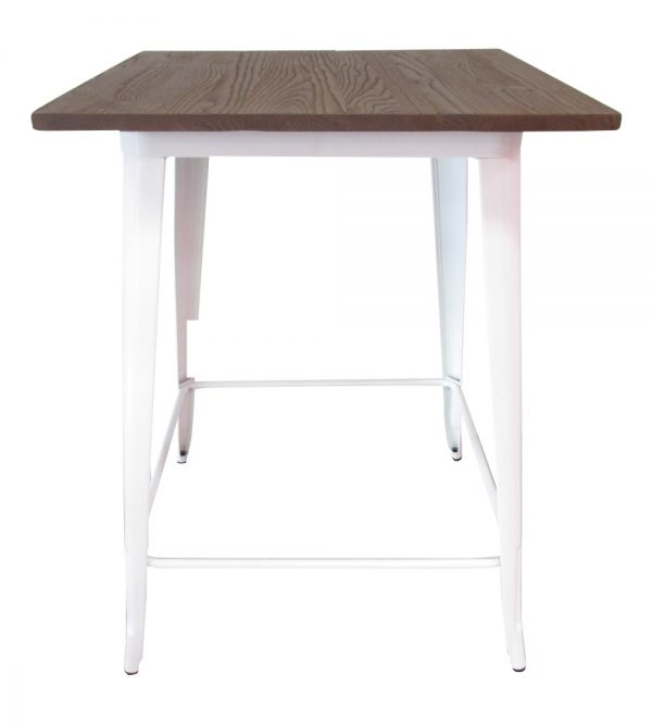 Tolix Bar Table Square 80cm Wooden Top White