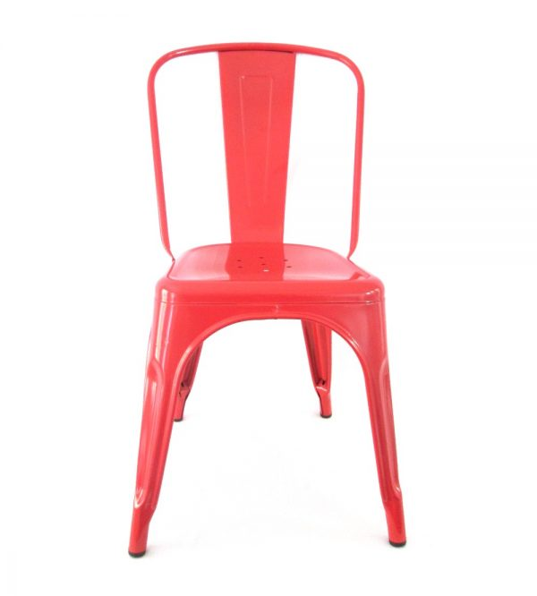 Tolix Metal Cafe Chair Red