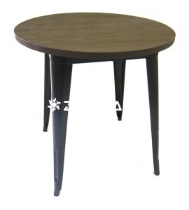 Tolix Cafe Table Round 70cm Wooden Top Black
