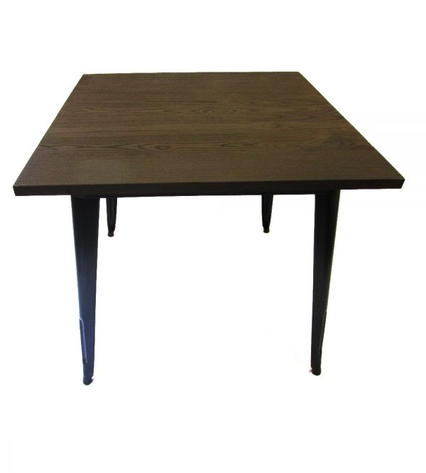 Tolix Cafe Table Square 80cm Wooden Top Black