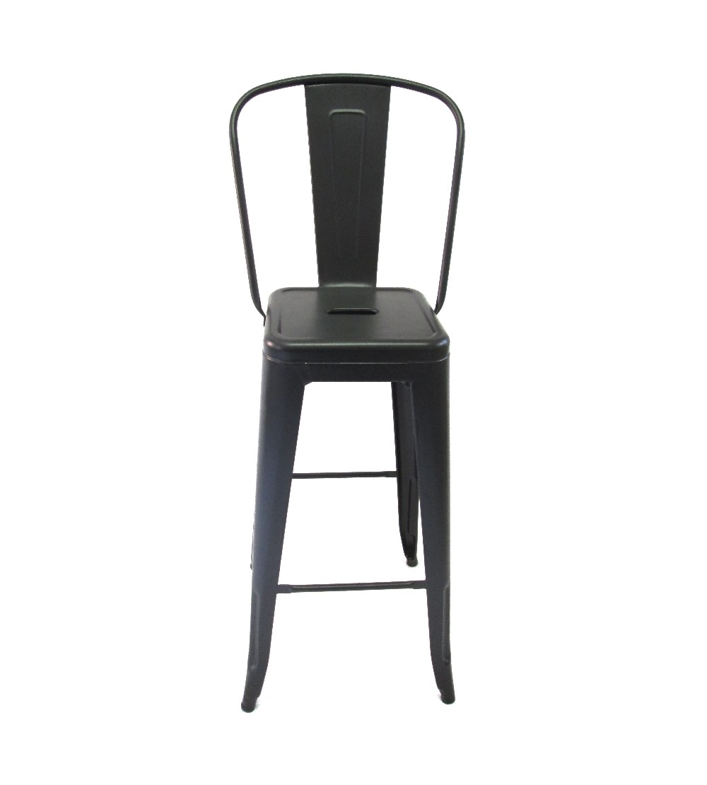 Tolix Metal Bar Chair With High Back Black