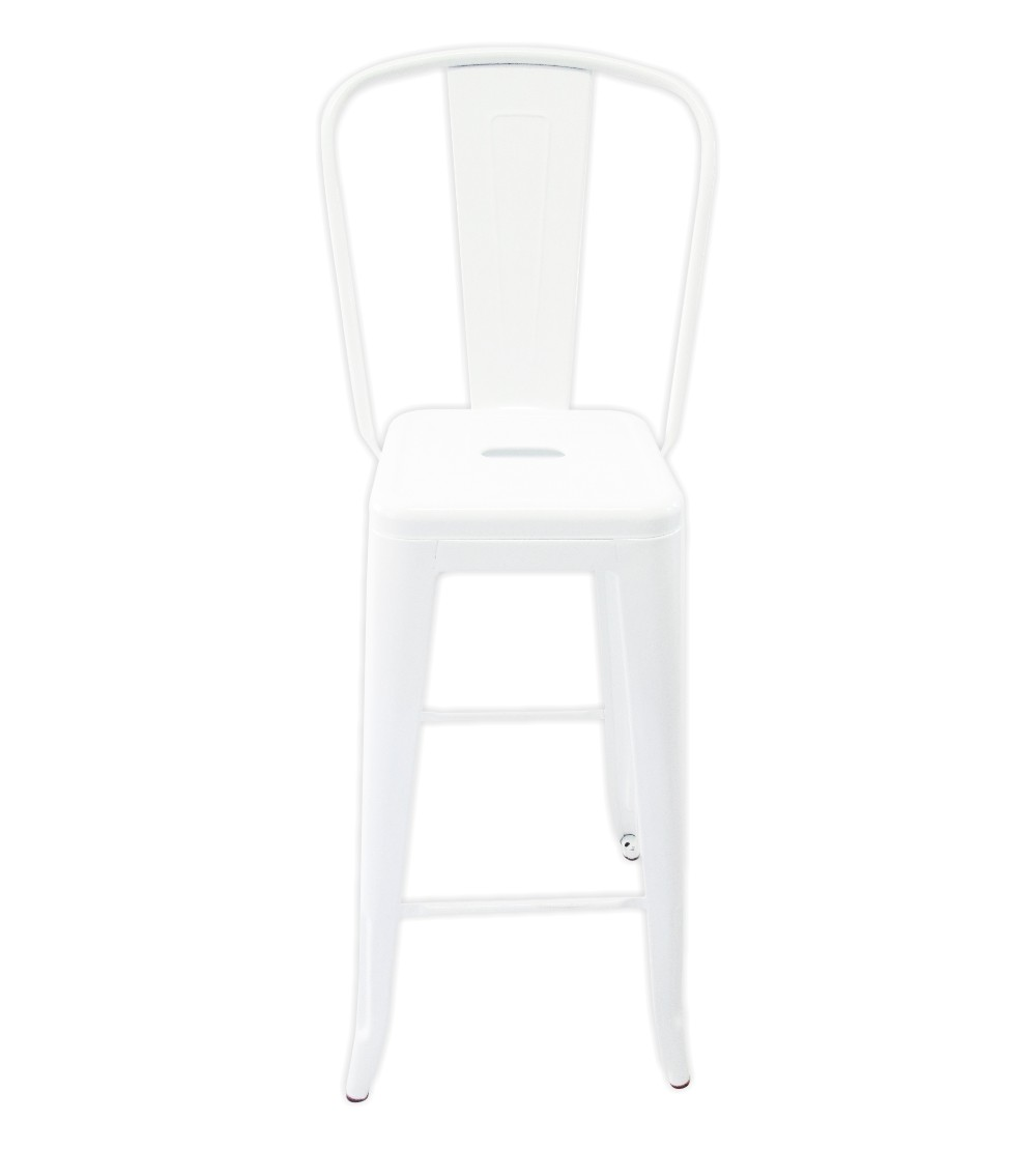 Tolix Bar Chair With High Back White