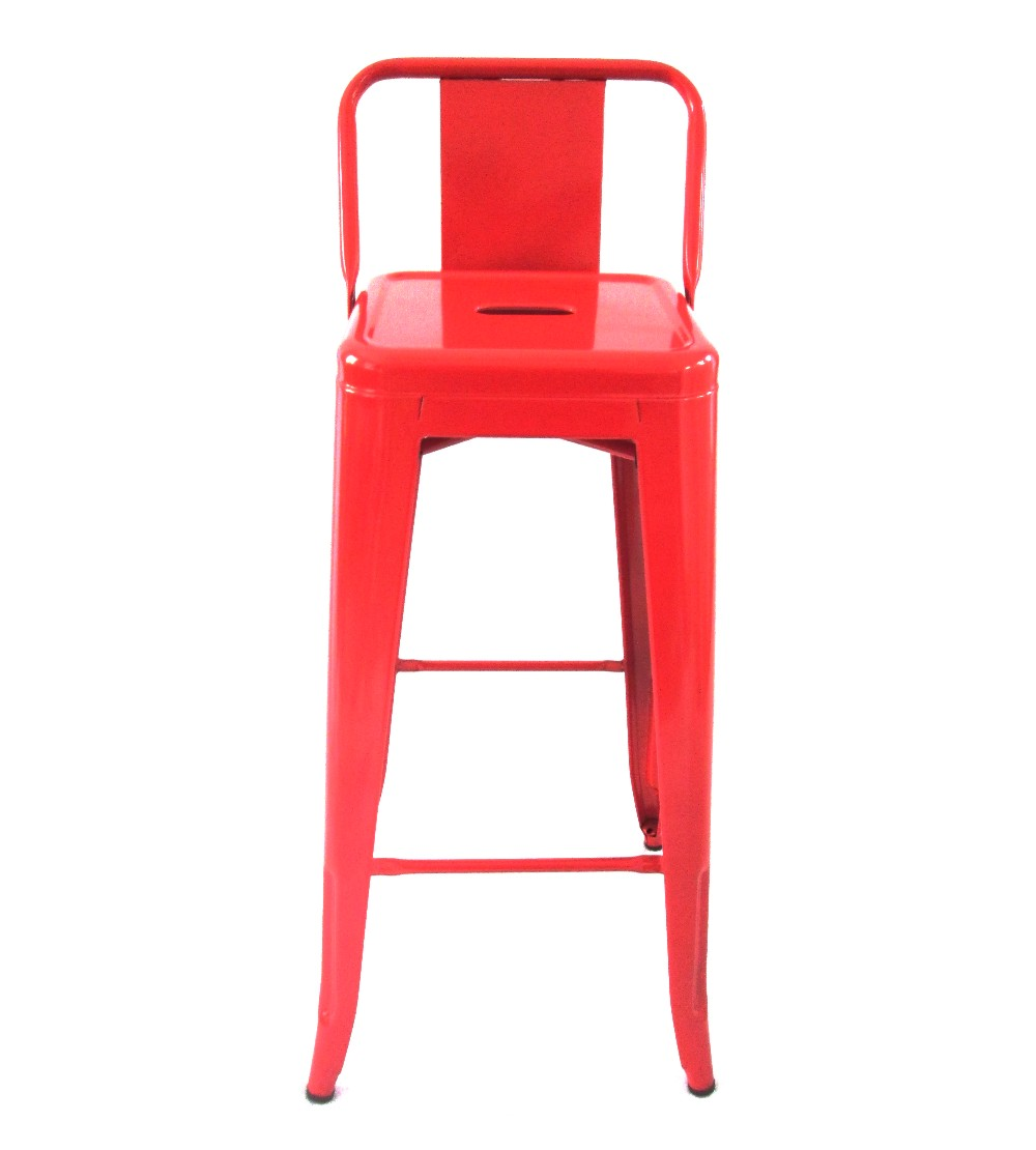 Tolix Metal Bar Chair With Low Back Red