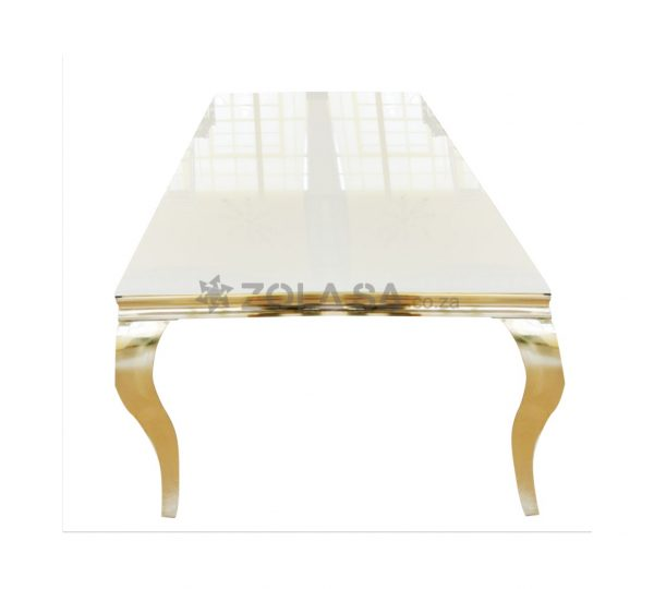 1.5m x 700cm Stainless Steel Gold Table With White Reflective Top