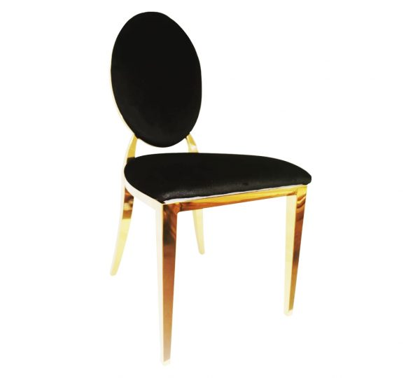 OVAL BLACK VELVET PADDED CHAIR WITH VELCRO (THE SEATS ARE CHANGEABLE)