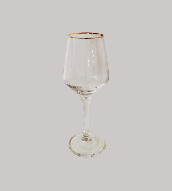 Wine Glass With Gold Rim New Shape