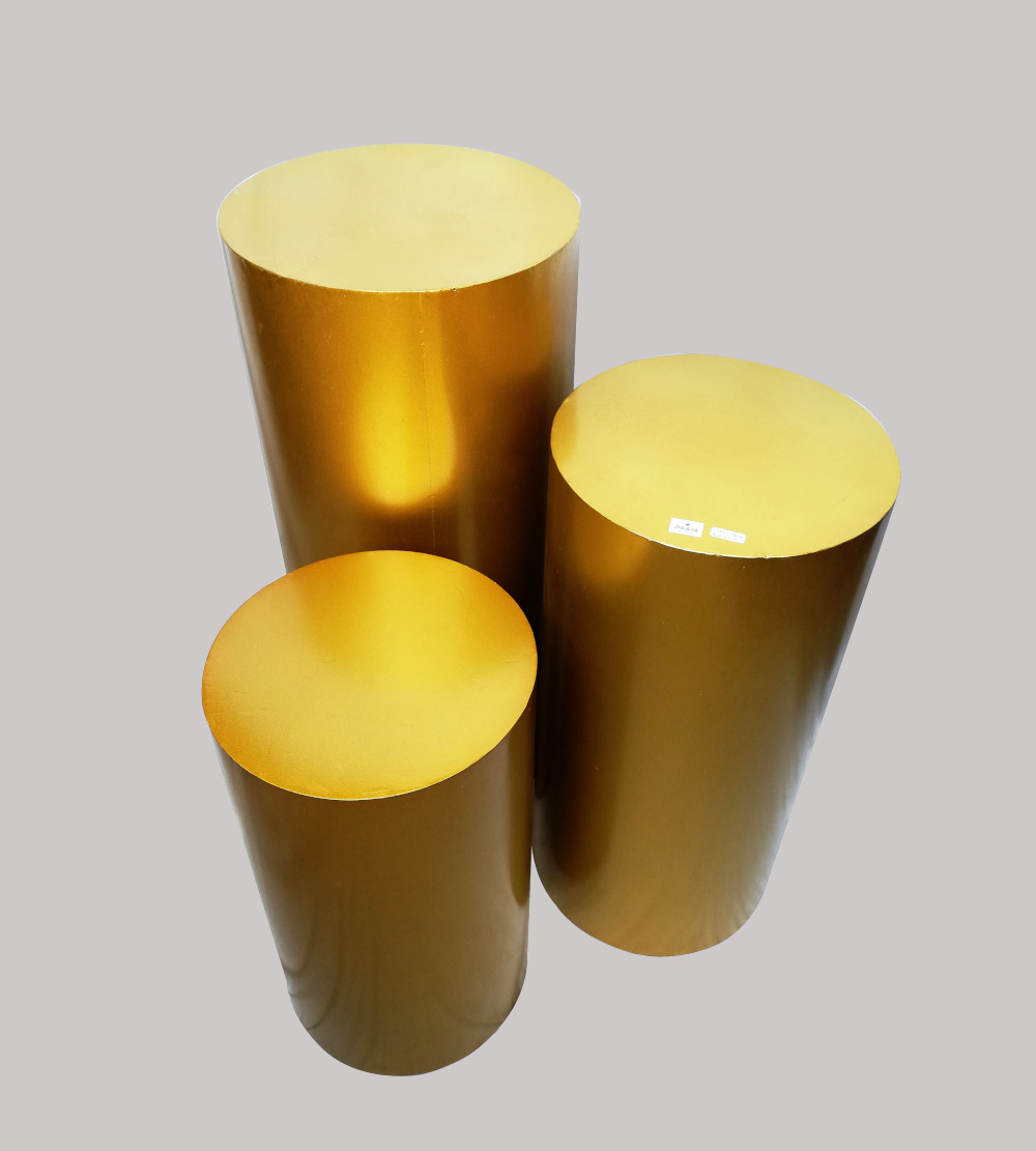Metal 3Pc Plinths- Gold