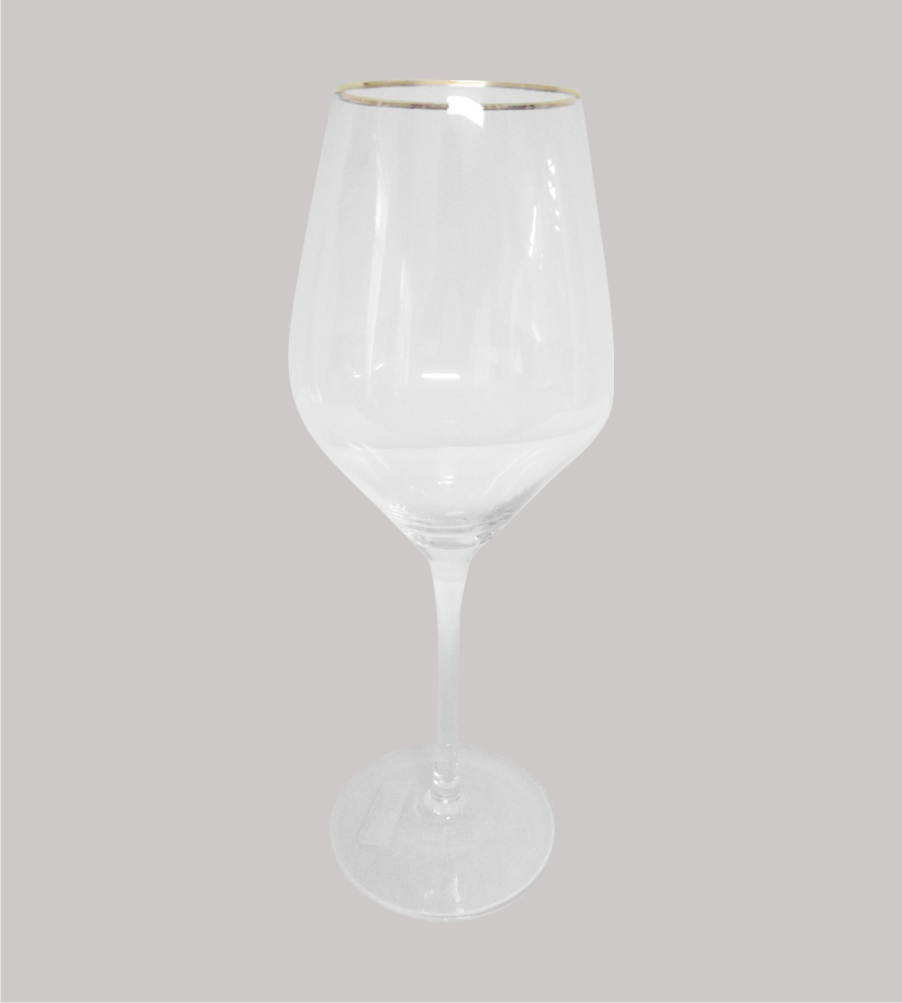 Clear Wine Glass With Gold Rim