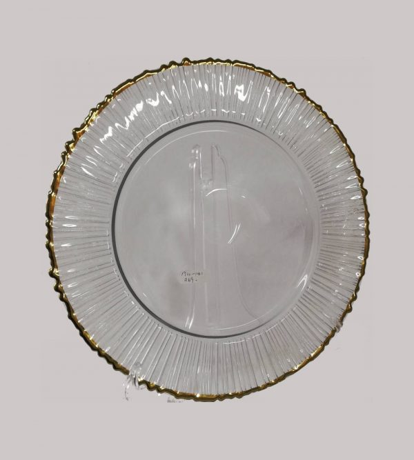 Glass Braided Underplate With Gold Rim