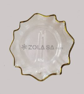 Glass Flower Underplate With Gold Rim