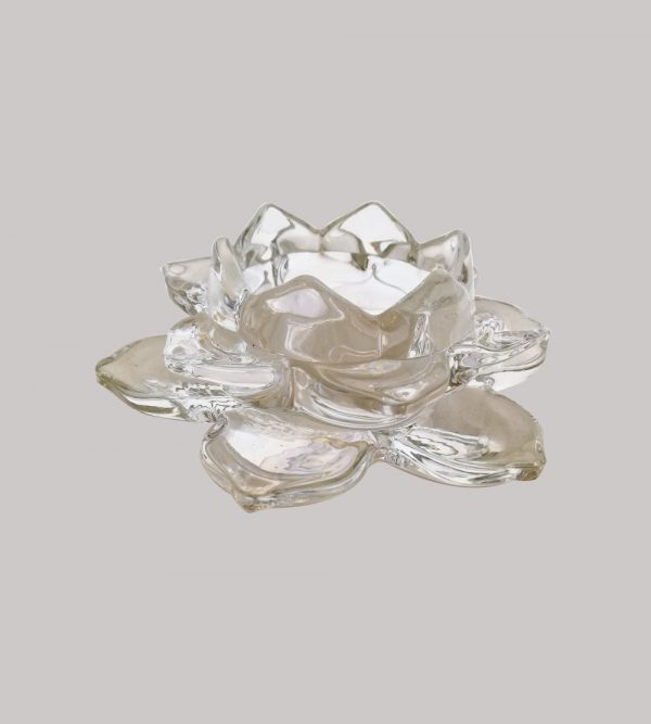 Clear Glass Candle Holder Lotus Flower Shape