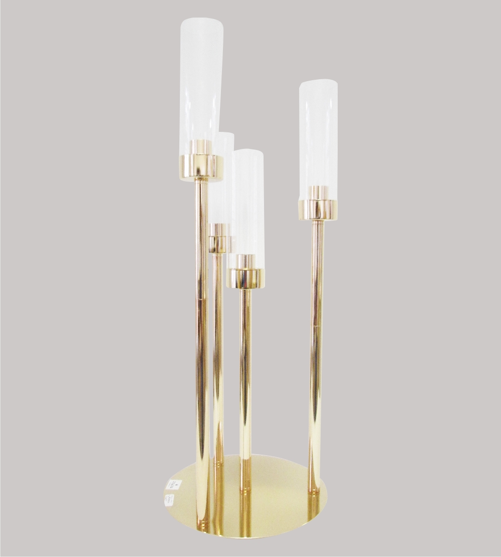 Gold 4 Branches Candle Holder With Glass