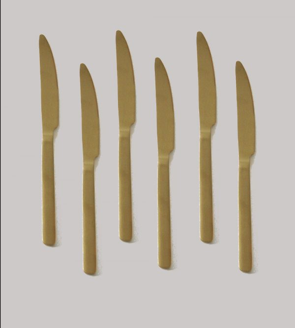 Stainless Steel Gold Knife 6Pc/Pack