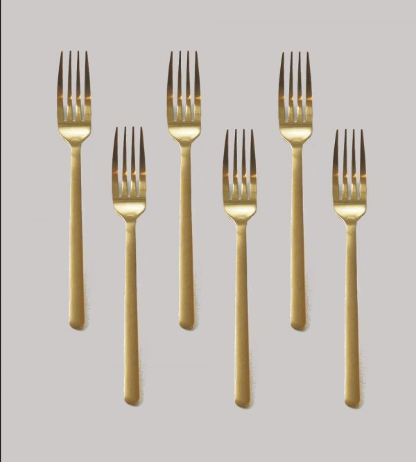 Stainless Steel Gold Fork 6Pcs/Pack