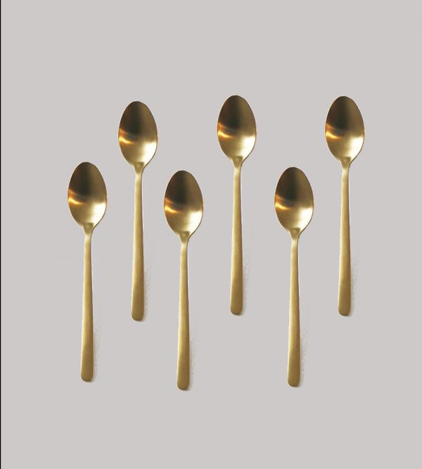 Stainless Steel Gold Tea Spoon 6Pc/Pack