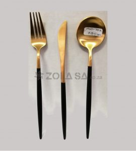 Stainless Steel Two Tone Cutlery 3Pc Set Black & Gold