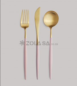 Stainless Steel Two Tone Cutlery 3Pc Set Pink & Gold