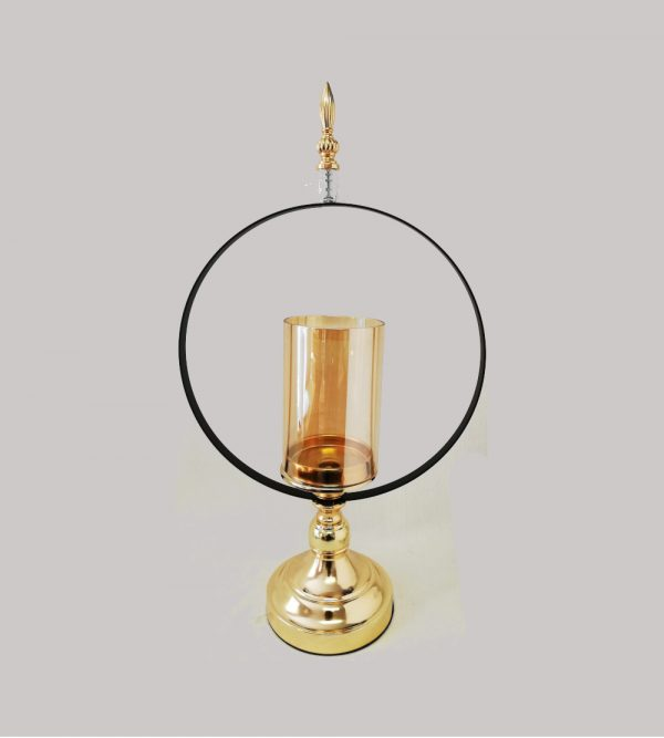 Gold Candle Holder With Black Ring