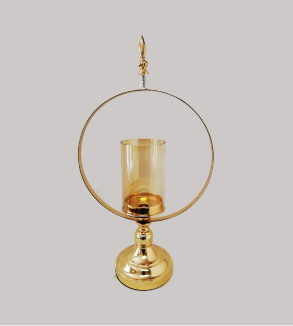 Gold Candle Holder With Gold Ring
