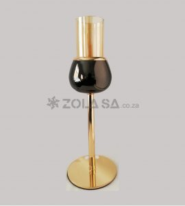 Gold Candle Holder With Black 21Cm X 11Cm