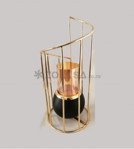 Gold Swirl Candle Holder With Black 24Cm X 11Cm