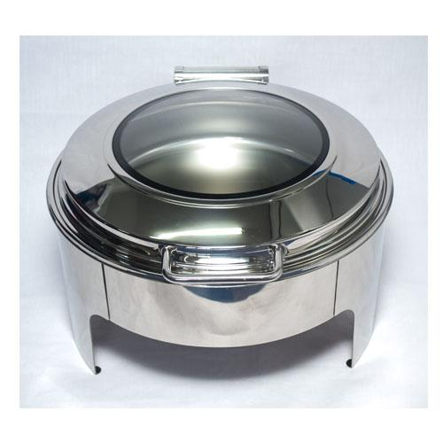 Flat Top Chafing Dish With Window-Silver 9L