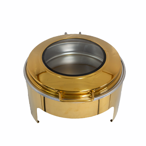 Flat Top Chafing Dish With Window-Gold 9L